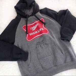 Miller Highlife Beer Holding Hooded Sweatshirt